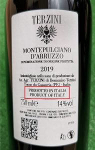 etichetta provenienza vino