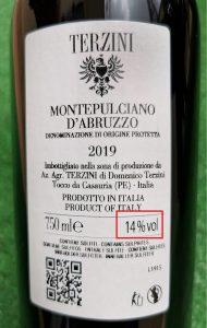 etichetta gradazione alcolica