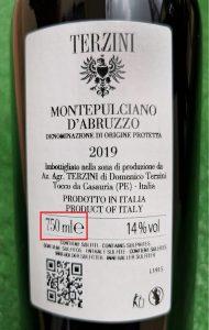etichetta capacità vino